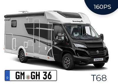 Teilintegriertes Wohnmobil T68 Adventure Automatik 160 PS + Dachklima (4 Personen)